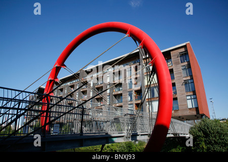 Looking across Hertford Union Canal footbridge to the Omega Works apartments on Fish Island, Hackney Wick, London, - Stock Photo