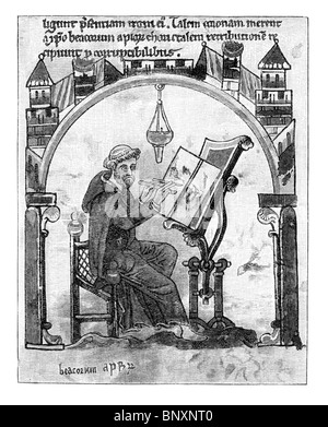 Black and White Illustration of Monk at his writing desk - Stock Photo