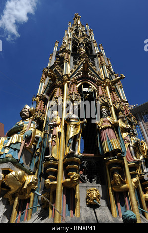 The Beautiful Fountain or Schoner Brunnen in Nuremberg Germany Nurnberg Deutschland Europe - Stock Photo