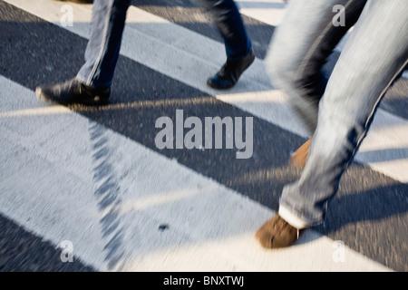 Pedestrians in crosswalk - Stock Photo