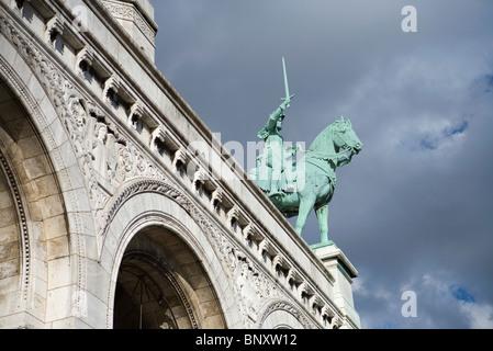 Equestrian Statue of Joan of Arc at Sacre C?ur, Montmartre, Paris, France - Stock Photo