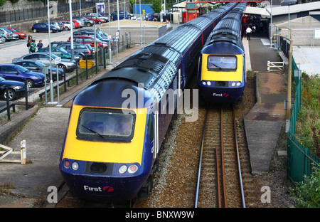 Another rare treat of two Intercity 125 Expresses at St Austell, together. - Stock Photo