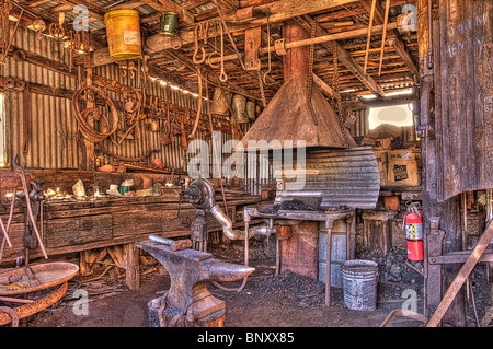 Old Forge and tools at Cooper Mine Jerome Arizona - Stock Photo