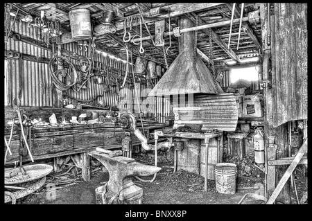 Old Forge and tools at Cooper Mine Jerome Arizona - Stock Photo