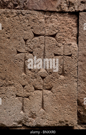 Armenian crosses on the 7th Century Odzun Church in Debed Canyon Armenia - Stock Photo
