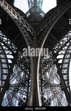 Eiffel Tower, Paris, France, low angle view of supporting girder - Stock Photo