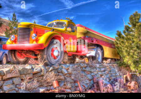 Fuel Truck at Cooper mine Jerome Arizona - Stock Photo