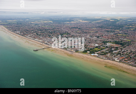 Aerial view of Worthing seafront looking from East to West, Worthing, West Sussex, UK - Stock Photo