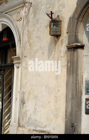background of old ancient wall in Warsaw, Poland town - Stock Photo