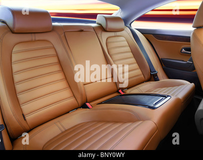 back passenger seats in modern luxury comfortable car - Stock Photo