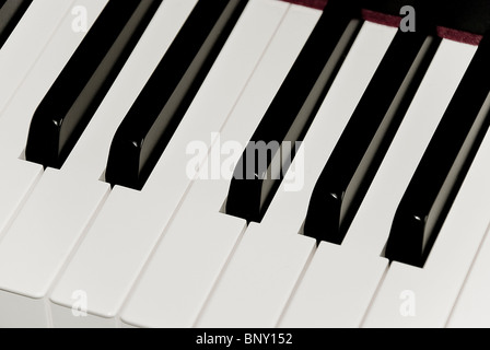A closeup of black and white keys of piano keyboard featuring one octave key set. - Stock Photo