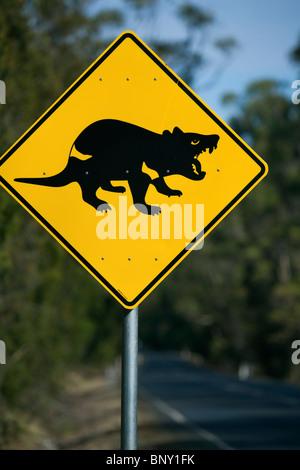 Tasmanian devil road sign. Tasmania, AUSTRALIA - Stock Photo