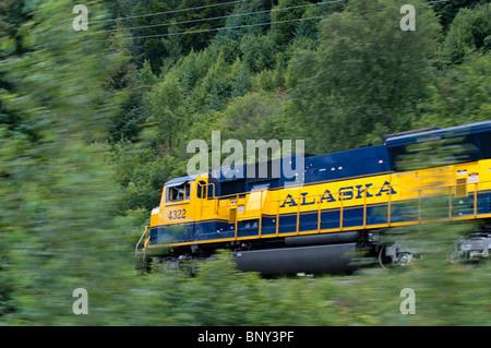 Alaska Railroad riding the rails in Alaska - Stock Photo