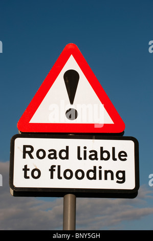 Road Liable to Flooding warning sign - Stock Photo