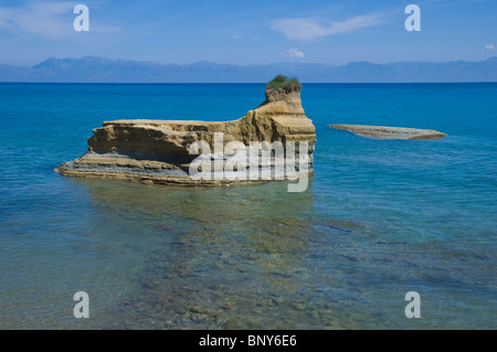 View over the picturesque Canal D'Amour at Sidari on the Greek island of Corfu Greece GR Albanian mountains on horizon - Stock Photo