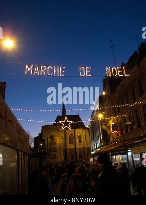 Sign at entrance to Christmas Market in Lille, France - Stock Photo