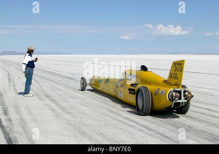 Land speed record car on the salt start line Bonneville Speedway Utah USA - Stock Photo
