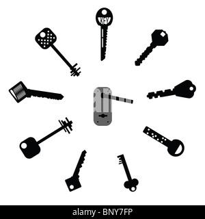 Set of design elements - Keys Silhouettes - Stock Photo