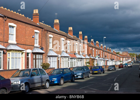 Old road with town houses in Birmingham United Kingdom - Stock Photo