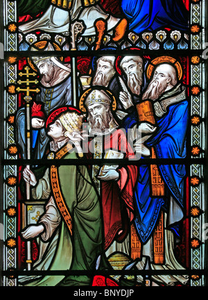 A stained glass window depicting Saints and Bishops, All Saints Church, Ladbroke, Warwickshire - Stock Photo