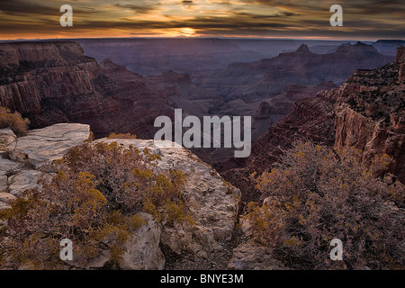 Sunset sky as seen from Cape Royal Point, north rim, Grand Canyon National Park, Arizona, USA. - Stock Photo