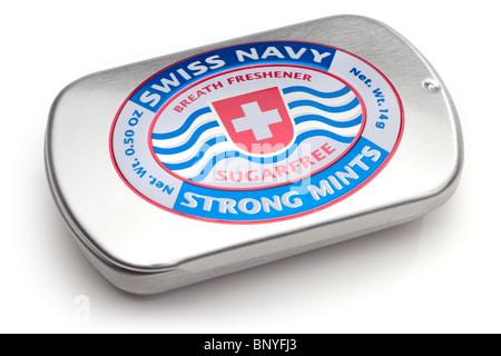 Silver tin of Swiss Navy Breath freshener sugarfree strong travel mints - Stock Photo