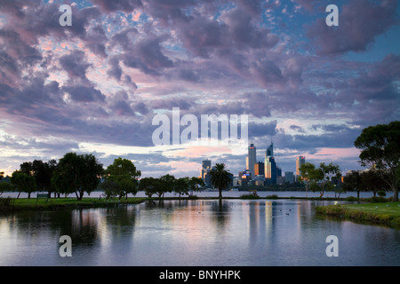 View across James Mitchell Park and the Swan River to the city skyline. Perth, Western Australia, AUSTRALIA. - Stock Photo