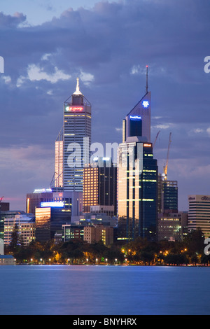 View across the Swan River to the city skyline at dusk. Perth, Western Australia, AUSTRALIA. - Stock Photo