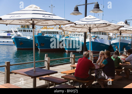 Fishing Boat Harbour - a popular spot for fish and chips at the port town of Fremantle, Western Australia, AUSTRALIA. - Stock Photo
