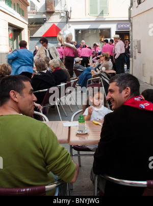 Arles, France, Young Family With Children Drinking in Local  Bar 'Bullfighting Festival' Musicians Play - Stock Photo