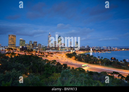 Dusk view of Perth from Kings Park. Perth, Western Australia, AUSTRALIA. - Stock Photo