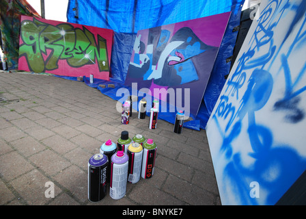 tools and spray cans for graffiti workshop - Stock Photo