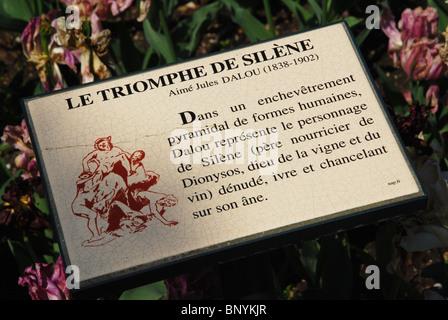 sign at Le Triomphe de Silene in Jardin du Luxembourg  Paris France