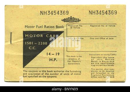 UK petrol ration coupon book, 1973 - Stock Photo