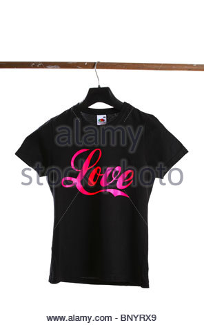Black T-Shirt with slogan on white background - Love - Stock Photo