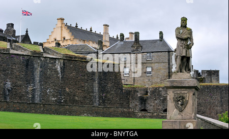 Statue of Robert the Bruce on the castle esplanade of Stirling Castle, Scotland, UK - Stock Photo