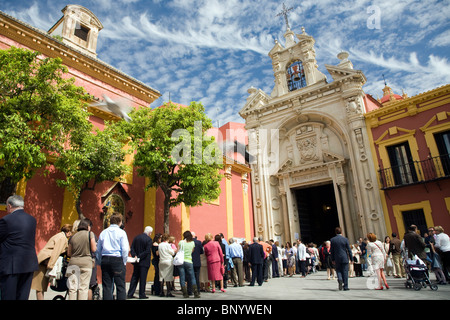 People waiting for the Easter procession, Seville, Spain - Stock Photo