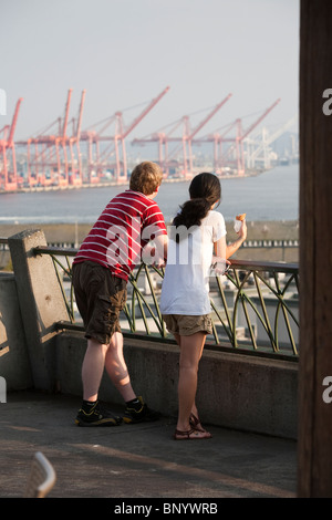 Young Couple at Victor Steinbrueck Park - Seattle, Washington - Stock Photo
