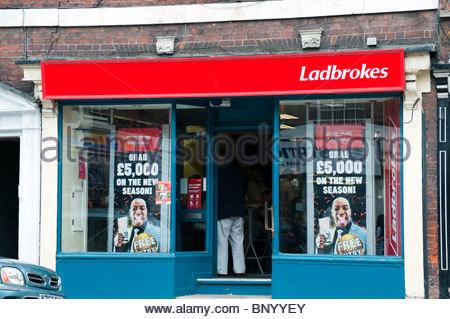 Ladbrokes betting shop in Tewkesbury, UK. Ladbrokes bookmakers store. - Stock Photo