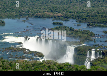 Aerial view of Iguassu Falls, Foz do Iguaçu, Parana, Border between Brazil and Argentina - Stock Photo