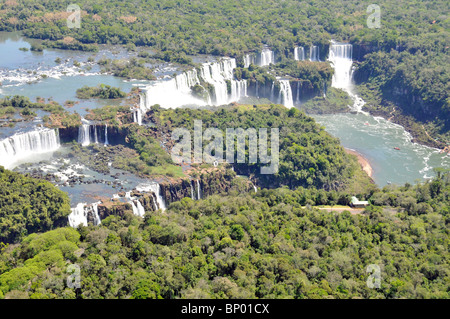 Aerial view of Iguassu Falls, Foz do Iguaçu, Parana, Border between Brazil and Argentina - Stock Photo