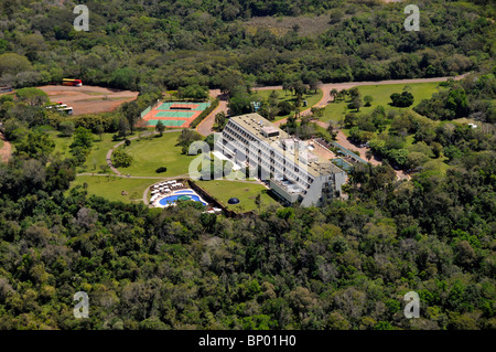 Aerial view of hotel near Iguassu Falls, surrounded by forest, border between Brazil and Argentina - Stock Photo