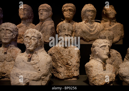 Funerary busts found in Beth Shean from the Grecco-Roman period made of soft limestone 3rd Century displayed at - Stock Photo