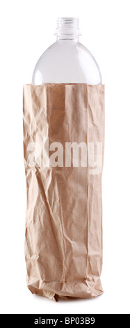 empty plastic bottle in a paper bag on white background. - Stock Photo