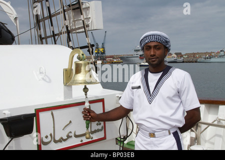 Navy crew Sea Cadet in uniform, a member of the Crew of RNOV Shabab Oman at Hartlepool 2010 Tall Ships Race, Village - Stock Photo