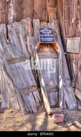 Wood Casket Jerome Arizona - Stock Photo
