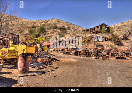 Old Trucks at Junk Yard Jerome Arizona - Stock Photo