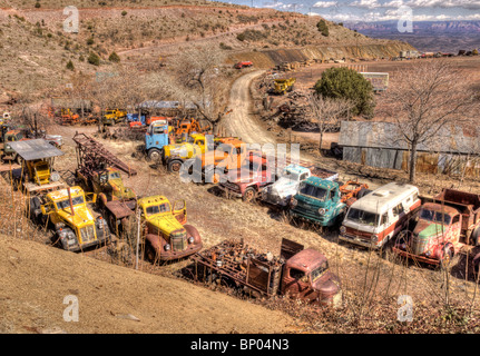 Old trucks Junk Yard Jerome Arizona - Stock Photo