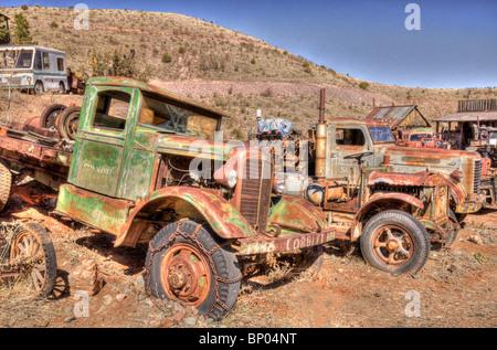 Old Trucks at Jerome Arizona Junk Yard - Stock Photo