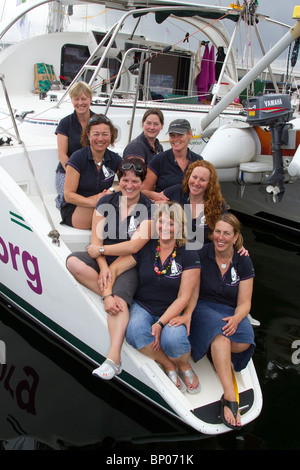 Female all women sailing crew at Hartlepool 2010 Tall Ships Race, Village and Marina, Teesside, North Yorkshire, - Stock Photo